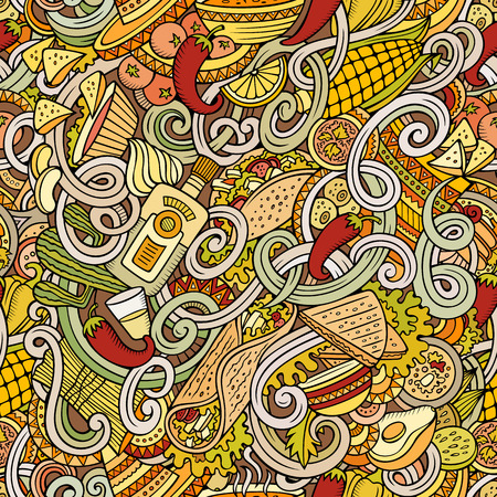 latinoamerica: Cartoon hand-drawn mexican food doodles seamless pattern. Detailed, with lots of objects vector background