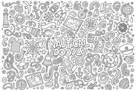 line art: Line art vector hand drawn Doodle cartoon set of marine, nautical objects and symbols