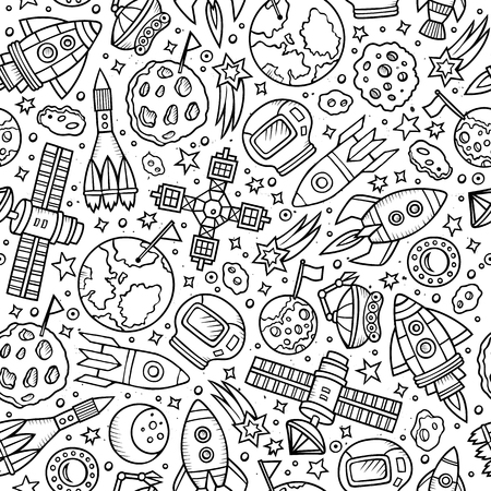 raquet: Cartoon hand drawn space seamless pattern. Lots of symbols, objects and elements. Perfect funny vector background.