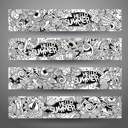 Cartoon line art vector hand drawn doodles summer corporate identity. 4 Horizontal banners design. Templates set Vektorové ilustrace