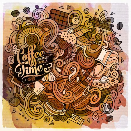 만화 손으로 두들 카페, 커피 숍 그림을 그려. 수채화 개체 벡터 디자인 배경의 많은, 상세한