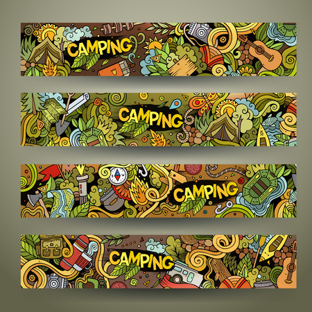 travel collage: Cartoon vector hand drawn colorful camping doodle corporate identity. 4 Horizontal banners design. Templates set Illustration