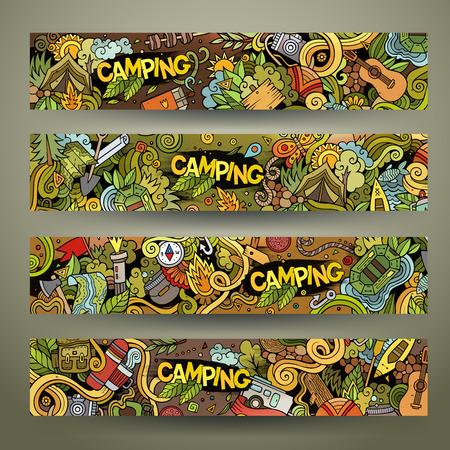 Cartoon vector hand getekend kleurrijke camping doodle corporate identity. 4 Horizontale banners design. sjablonen set