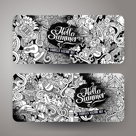 line art: Cartoon vector hand drawn line art camping doodle corporate identity. 2 Horizontal banners design. Templates set
