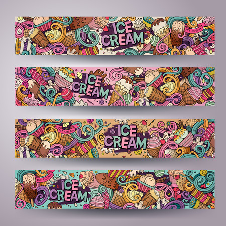 ice cream: Cartoon colorful vector hand drawn doodles ice cream corporate identity. 4 Horizontal banners design. Templates set