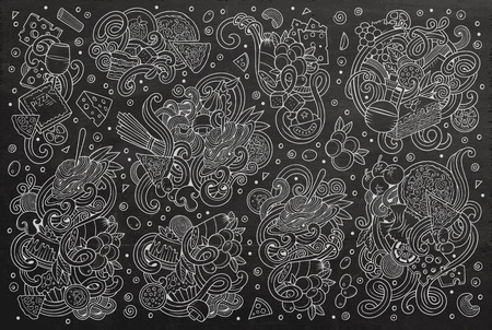 Line art chalkboard vector hand drawn doodle cartoon set of italian cuisine objects and symbols