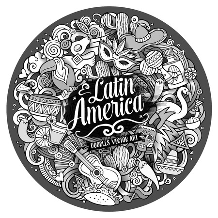 Latin America. Cartoon vector hand drawn Doodle illustration. Line art detailed round design background with objects and symbols. All objects are separated