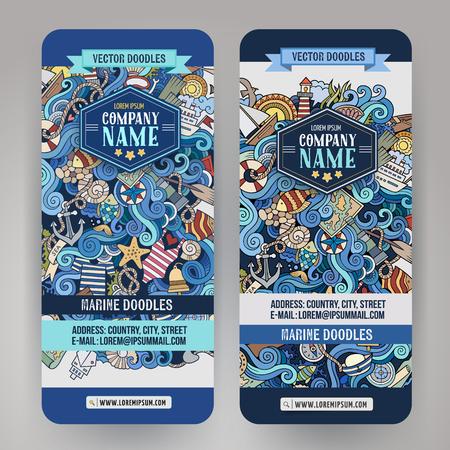 Cartoon kleurrijke vector de hand getekende doodles marine corporate identity. 2 verticale banners ontwerp. sjablonen set
