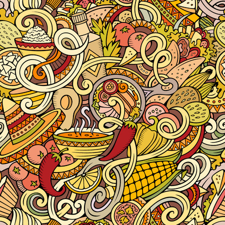 latin american: Cartoon hand-drawn mexican food doodles seamless pattern. Detailed, with lots of objects vector background
