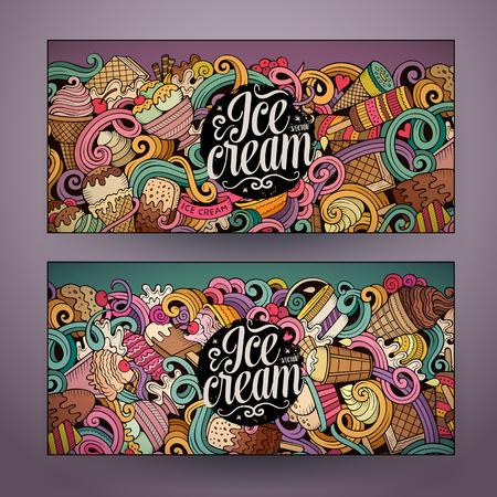 만화 다채로운 벡터 손으로 그린 낙서 아이스크림 기업의 정체성. 2 가로 배너 디자인. 템플릿 설정