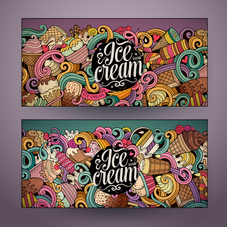 Cartoon colorful vector hand drawn doodles ice cream corporate identity. 2 Horizontal banners design. Templates set Çizim