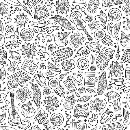 Cartoon Hand gezeichnet Hippie Doodles nahtlose Muster. Line art ausführlich, mit vielen Objekten Vektor-Hintergrund Standard-Bild - 57564806
