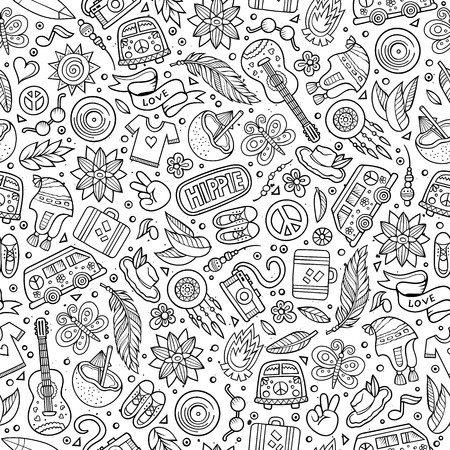 Cartoon hand drawn hippie doodles seamless pattern. Line art detailed, with lots of objects vector background