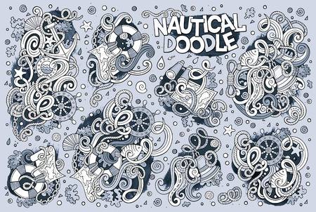 sail fin: Line art vector hand drawn Doodle cartoon set of marine, nautical objects and symbols