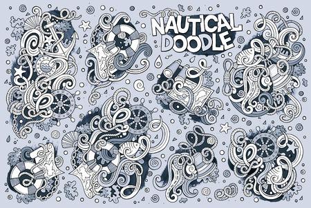 paddle wheel: Line art vector hand drawn Doodle cartoon set of marine, nautical objects and symbols