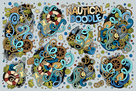 sail fin: Colorful vector hand drawn Doodle cartoon set of marine, nautical objects and symbols