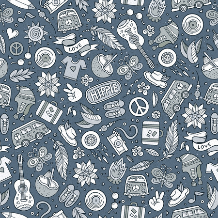 hand drawn cartoon: Cartoon hand drawn hippie doodles seamless pattern. Line art detailed, with lots of objects vector background