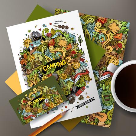 postcard: set vector de la identidad corporativa. Plantillas en la tabla con el diseño garabatos dibujados a mano para acampar. Vectores