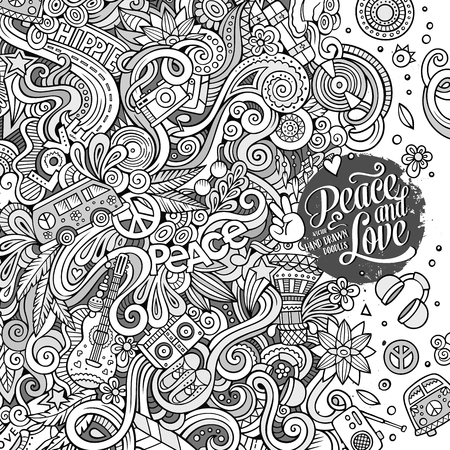 Cartoon hand-drawn doodles hippie illustration. Line art detailed, with lots of objects vector background Illustration