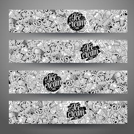 alimentos congelados: Arte del vector de línea de mano garabatos dibujados helado identidad corporativa. 4 diseño de banners horizontales. Establecimiento de plantillas