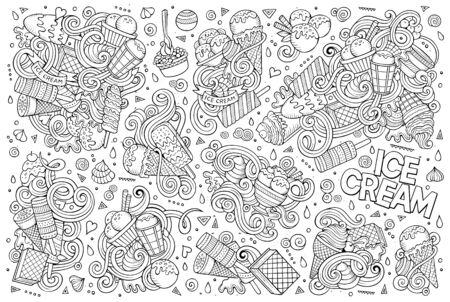ice cream on stick: dibujado la línea de arte vector de la mano de dibujos animados conjunto del doodle de objetos helados y símbolos