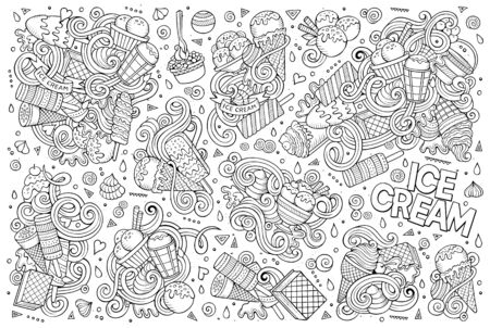 vanilla cake: Line art vector hand drawn doodle cartoon set of ice-cream objects and symbols Illustration