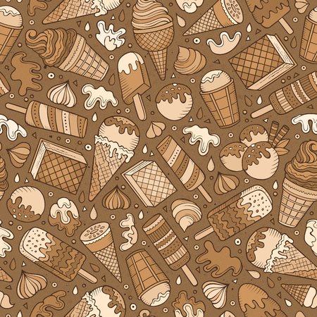 cone: Cartoon hand-drawn ice cream doodles seamless pattern. Colorful detailed, with lots of objects vector background