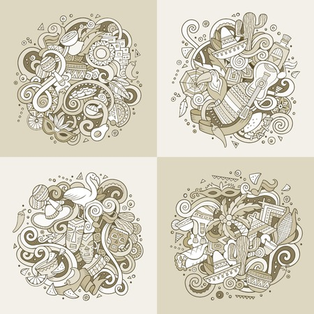 Latin American cartoon vector hand drawn doodle illustration. Sepia detailed designs  with objects and symbols. 4 square composition banner vector set. Illustration