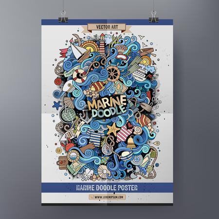 Diseño del cartel de la plantilla con la ilustración de garabatos dibujados a mano marinos. Ilustración de vector