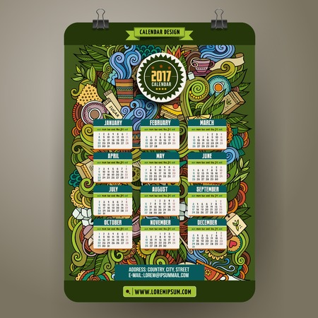 Cartoon colorful hand drawn doodles tea time 2017 year calendar template. English, Sunday start. Very detailed, with lots of objects illustration. Funny vector artwork.
