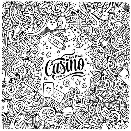 漫画かわいい落書きは手描き下ろしカジノ フレーム デザインです。詳細は、オブジェクトの背景の多くのライン アート。面白いベクトル図です。