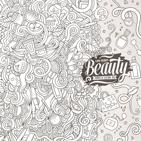 cosmetics background: Cartoon cute doodles hand drawn cosmetics frame design. Line art detailed, with lots of objects background. Funny vector illustration. Sketchy border with beauty theme items