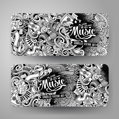 Cartoon line art vector hand drawn doodles music corporate identity. 2 Horizontal banners design. Templates set