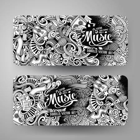 Cartoon line art vector hand drawn doodles music corporate identity. 2 Horizontal banners design. Templates set