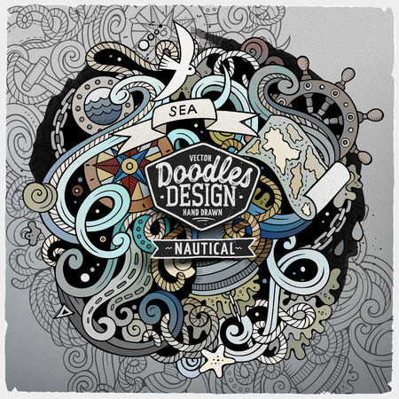 Nautical cartoon vector hand drawn doodle illustration. Artistic detailed design with lot of objects and symbols. Square vector grunge composition