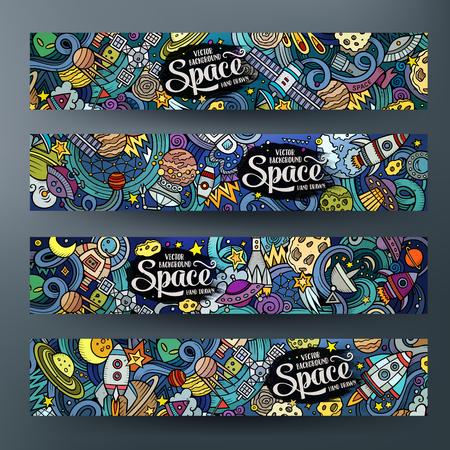漫画かわいいカラフルなベクトル手描き落書きスペース企業のアイデンティティ。4 水平方向のバナーを設計します。テンプレート セット  イラスト・ベクター素材