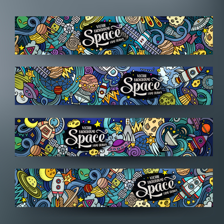 Cartoon cute colorful vector hand drawn doodles space corporate identity. 4 horizontal banners design. Templates set Stok Fotoğraf - 60259262