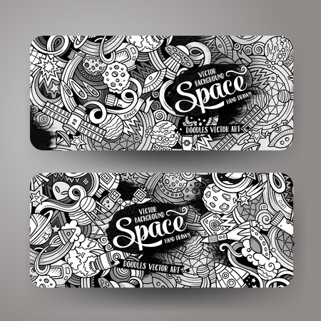 Cartoon cute line art vector hand drawn doodles space corporate identity. 2 horizontal banners design. Templates set