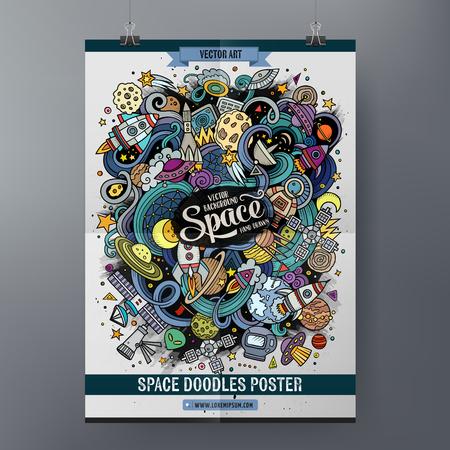 만화 다채로운 손으로 그린 낙서 공간 포스터 템플릿. 매우 상세한, 많은 개체 그림. 재미 있은 벡터 아트웍. 기업의 정체성 디자인.