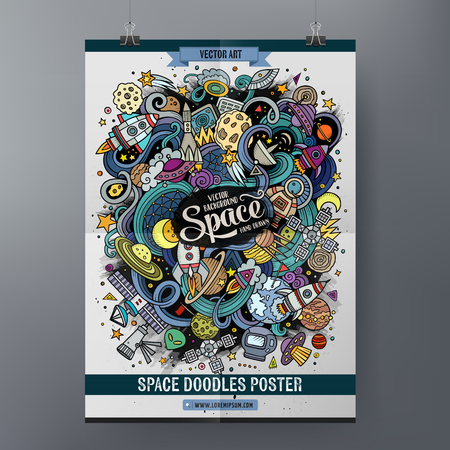 Cartoon colorful hand drawn doodles space poster template. Very detailed, with lots of objects illustration. Funny vector artwork. Corporate identity design. Vectores