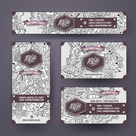 web template: Cartoon cute sketchy vector hand drawn doodles art corporate identity set. Templates design of banners, id cards, flyer