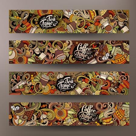 De koffie collectieve identiteit van beeldverhaal kleurrijke vectorhand getrokken krabbels. 4 Horizontaal bannersontwerp. Sjablonen instellen Stock Illustratie