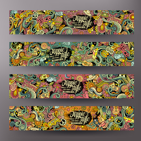 Cartoon colorful line art vector hand drawn doodles hippie corporate identity. 4 Horizontal banners design. Templates set