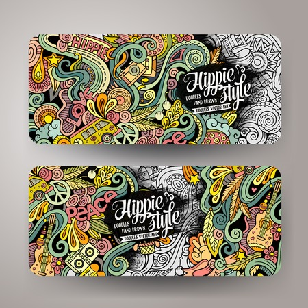 Cartoon colorful line art vector hand drawn doodles hippie corporate identity. 2 Horizontal banners design. Templates set