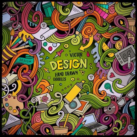Concepteur de cadre de conception dessiné à la main. Coloré détaillé, avec beaucoup d'arrière-plan d'objets. Illustration vectorielle drôle. Frontière de couleurs vives avec des éléments de thème de concepteur Vecteurs
