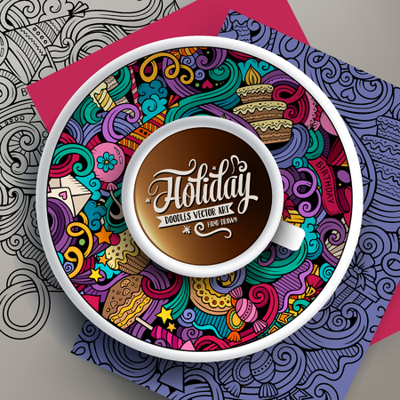 Vector illustration with a Cup of coffee and hand drawn holidays doodles on a saucer, on paper and on the background Illustration