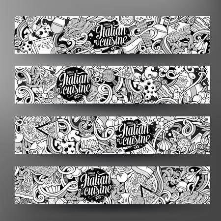 comida italiana: garabatos dibujados de dibujos animados lindo Vector incompleto mano comida italiana de identidad corporativa. 4 línea horizontal diseño de banners de arte. Establecimiento de plantillas