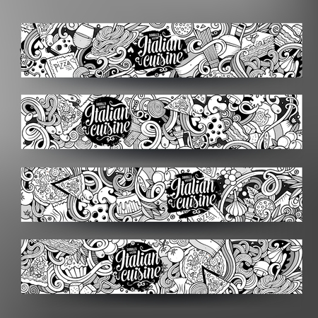Cartoon cute sketchy vector hand drawn doodles italian food corporate identity. 4 horizontal line art banners design. Templates set Illustration
