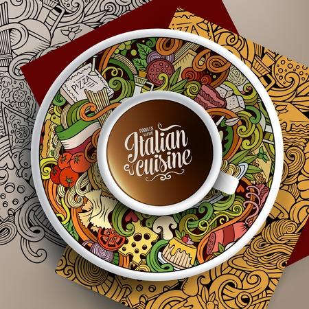 Ilustración del vector con una taza de café y de la mano dibuja garabatos de cocina italiana en un plato, en el papel y en el fondo Ilustración de vector