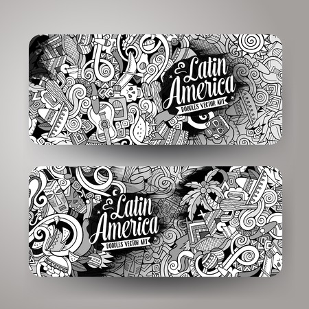 machu picchu: Cartoon cute line art vector hand drawn doodles Latin America corporate identity. 2 horizontal banners design. Templates set